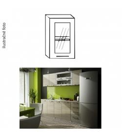 Kuchynská skrinka, ľavá, strieborné orámovanie/sklo, IRYS GW-40