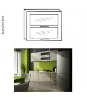 Kuchynská skrinka, strieborné orámovanie/sklo, IRYS NEW G2W-80