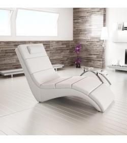 Relaxačné kreslo, ekokoža biela, LONG