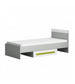 Posteľ 90x200 s úložným priestorom, sivá/biela/zelená, PIERE P12