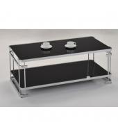 Konferenčný stolík, chróm/čierne sklo, LONZO