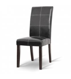 Jedálenská stolička, tmavý orech/ekokoža čierna, RORY NEW