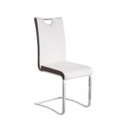 Jedálenská stolička, Ekokoža Biela, hnedá/chróm, IMANE