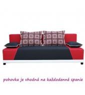 Pohovka, rozkladacia s úložným priestorom, látka čierna/červená/vankúše červený vzor, ROKAR