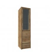 Vitrína s jednou zásuvkou a predelenými dverami - plnými a presklenými, dub lefkas, MONTANA W1D