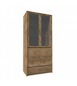Vitrína s jednou zásuvkou a dvoma predelenými dverami - plnými a presklenými, dub lefkas, MONTANA W2D