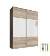 Skriňa dvojdverová kombinovaná, šírka 160 cm, dub sonoma/biela, AVA