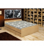 Posteľ so zásuvkami, buk, 140x200, DUET 80262