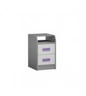 Kontajner k PC stolu, sivá/biela/fialová, PIERE P09