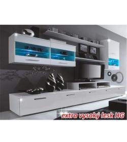 Obývacia stena, LED s osvetlením, biela/biela extra vysoký lesk HG, LEO