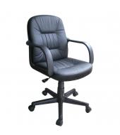 Kancelárske kreslo, split koža čierna/ekokoža čierna, PAUL-NEW