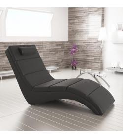 Relaxačné kreslo, ekokoža čierna, LONG