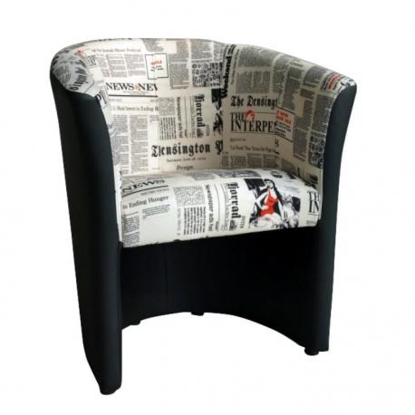 CUBA kreslo D-8 ekokoža čierna/látka vzor noviny