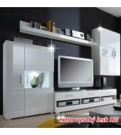 Obývacia stena, biela s extra vysokým leskom HG, LIGHT