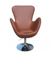 Relaxačné kreslo, hnedá textilná koža/chróm, OLLI NEW