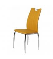 Jedálenská stolička, ekokoža žltá kari/chróm, OLIVA