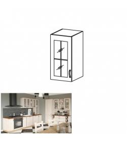 Horná skrinka so sklom, biela/sosna nordická, ľavá, ROYAL G40S