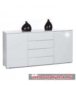 Komoda 4 - zásuvková, biela, SPICE 3