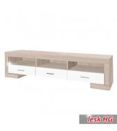 TV stolík/skrinka typ 3, dub sonoma/biely lesk, STILO