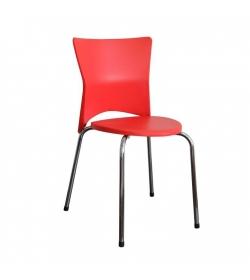 Stolička jedálenská, chróm/plast červená, BRISA