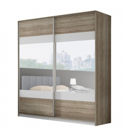 Skriňa so zrkadlom, 2m, dub sonoma trufel/sivá/zrkadlo, MADISON NEW