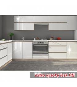 Kuchynská zostava 2,6m, biely vysoký lesk HG, LINE BIELA
