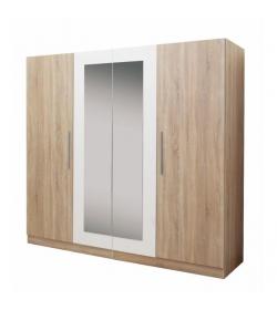 Kombinovaná skriňa so zrkadlom, dub sonoma/biela, MATISA