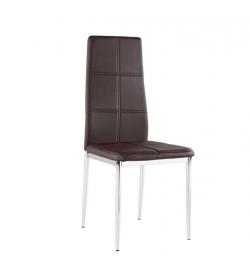 Stolička, ekokoža hnedá/chróm, LERA