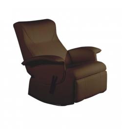 relaxačné kreslo, hnedá textilná koža PU, ROMELO C3