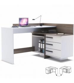 Univerzálny PC stôl, rohový, biela/tmavý dub, TALE