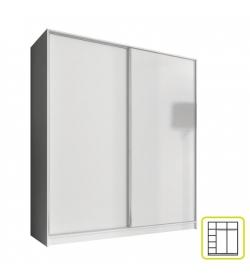 Skriňa dvojdverová kombinovaná, šírka 180 cm, biela, AVA