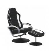 Relaxačné kreslo s podnožkou, ekokoža bielo čierna, ALDAMIR