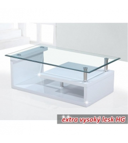 Konferenčný stolík, sklo/biela extra vysoký lesk HG, JULIEN