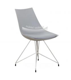 Stolička jedálenská, chróm/sivá, CHROME