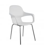 Stolička, biela/chróm, DORIEN