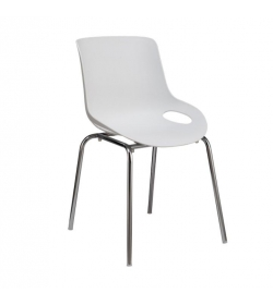 Jedálenská stolička, biela/chróm, EDLIN