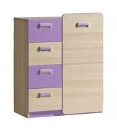 Komoda, 1 dverová so 4 zásuvkami, jaseň/fialová, EGO L6