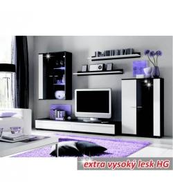 Obývacia stena, s osvetlením, biela/čierna extra vysoký lesk HG, CANES