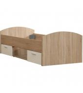 Posteľ, s dvoma zásuvkami a policou, dub/biela, 90x200, WINIE WNL09