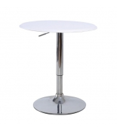 Barový stôl, otočný, s nastaviteľnou výškou, chróm/biela, BRANY