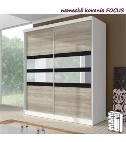 Dvojdverová skriňa, 183x218, s posuvnými dverami, biela/čierne sklo/dub sonoma, MULTI 10