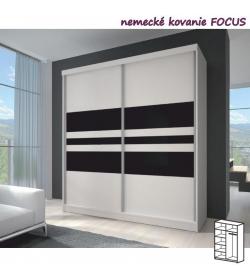 Dvojdverová skriňa, 183x218, s posuvnými dverami, biela/čierne sklo/biela, MULTI 11