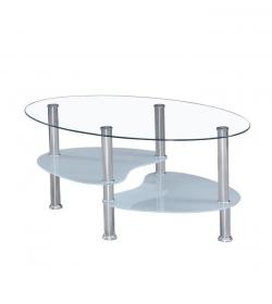 Konferenčný stolík, oceľ/číre sklo/mliečne sklá, WAVE NEW