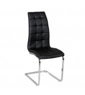 Jedálenská stolička, ekokoža čierna/chróm, DULCIA
