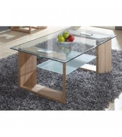Konferenčný stolík, dub + sklo, VLASTA