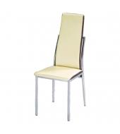 Jedálenská stolička, ekokoža béžová, hnedá/chróm, ZORA
