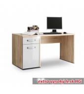 PC stôl, dub sonoma/biely lesk, TEODOZ