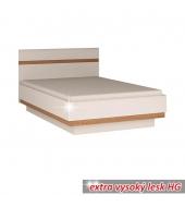 Posteľ, biela extra vysoký lesk HG/dub sonoma tmavý, 140x200 cm, LYNATET TYP 91