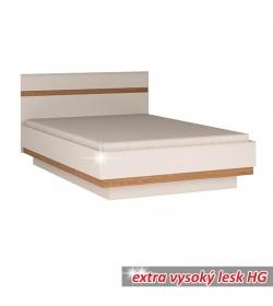 Posteľ, biela extra vysoký lesk HG/dub sonoma tmavý, 160x200 cm, LYNATET TYP 92