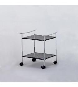 Regál pojazdný, s dvoma poličkami, chróm + kov, ACHERON